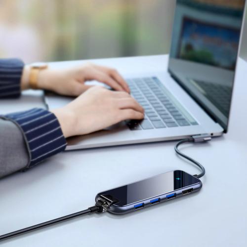 Baseus Six Ports HUB Type-C to 3xUSB 3.0+4K/HD+RJ45+PD Adapter for MacBook / PC Dark Grey (CAHUB-DZ0G)