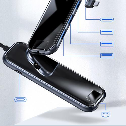 Baseus Adapter HUB USB Typ C auf 3x USB 3.0 / HDMI 4K / RJ45 / USB Typ C PD für MacBook / PC grau (CAHUB-DZ0G)