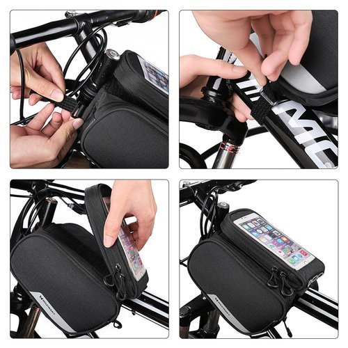 Wozinsky Fahrradtasche Rahmentasche Handyhalterung für Smartphone 6,5 Zoll max 1,5L schwarz (WBB7BK)