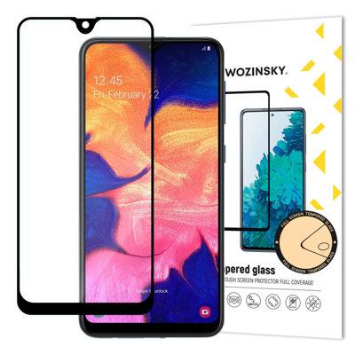 Wozinsky Tempered Glass Full Glue Super Robust Panzerglas Vollbild Hartglas mit Rahmen Case Friendly für Samsung Galaxy A10 schwarz