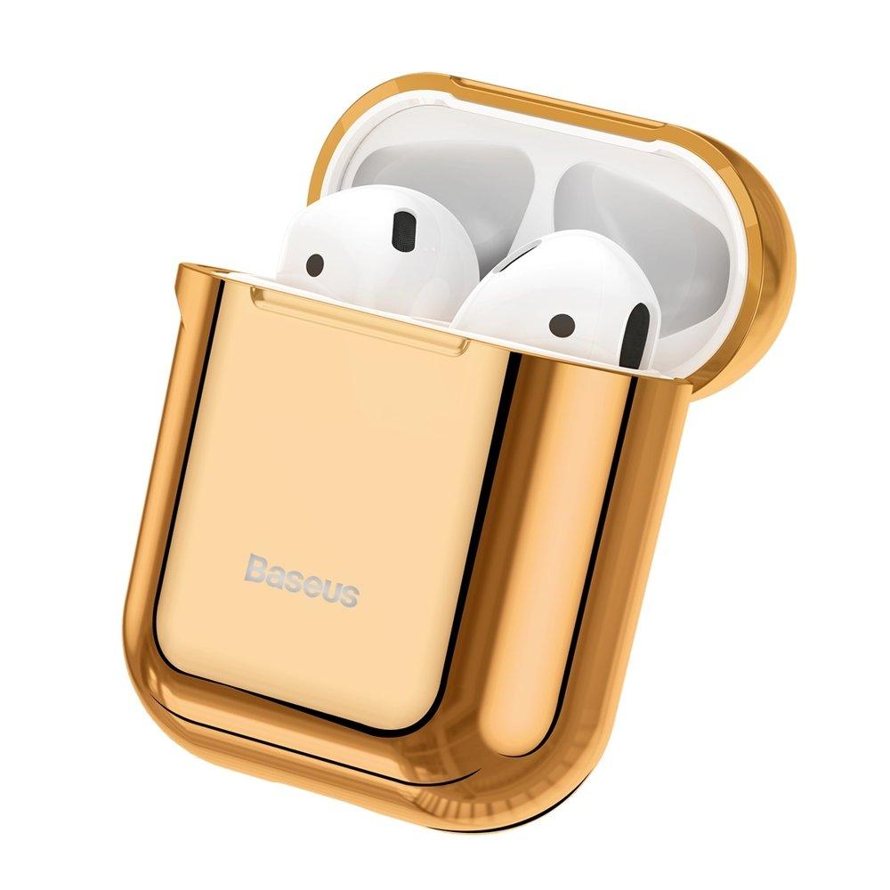 Baseus błyszczące silikonowe etui case na słuchawki AirPods 2gen 1gen złoty (ARAPPOD A0V)