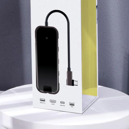 Baseus adapter przejściówka HUB USB Typ C na 3x USB 3.0 / HDMI 4K / RJ45 / USB Typ C PD do MacBook / PC szary (CAHUB-DZ0G)