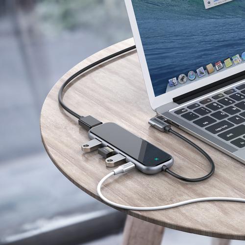 Baseus adapter przejściówka HUB USB Typ C na 3x USB 3.0 / HDMI 4K / USB Typ C PD do MacBook / PC szary (CAHUB-EZ0G)